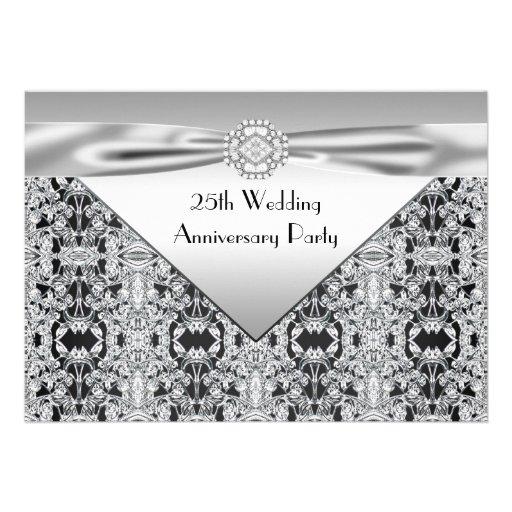 Fiesta de aniversario elegante de la bodas de plat comunicado personalizado