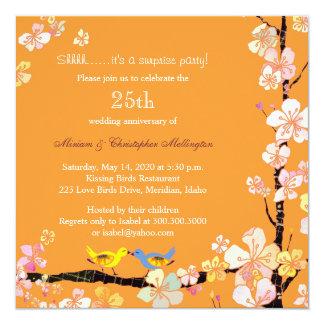 Fiesta de aniversario elegante de la sorpresa de invitación 13,3 cm x 13,3cm