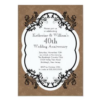 Fiesta de aniversario elegante del boda del invitación 12,7 x 17,8 cm