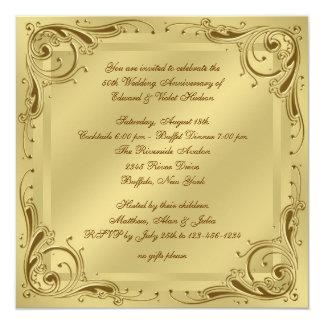 Fiesta de aniversario elegante del boda del oro invitacion personal
