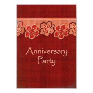 Fiesta de aniversario hawaiana del hibisco invitación 12,7 x 17,8 cm