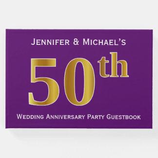 Fiesta de aniversario púrpura, falsa del boda del libro de invitados