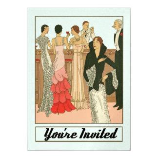 Fiesta de aniversario sofisticada del art déco del invitación 11,4 x 15,8 cm