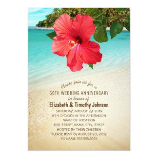 Fiesta de aniversario tropical del boda de playa invitación 12,7 x 17,8 cm