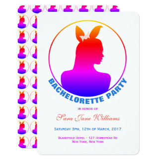 Fiesta de Bachelorette del chica de conejito de Invitación 12,7 X 17,8 Cm