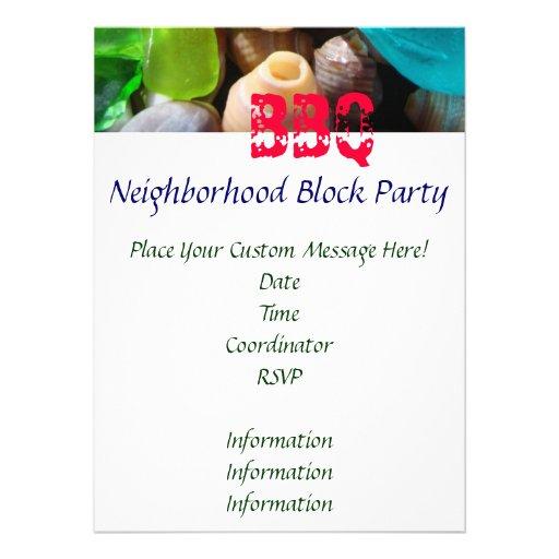 Fiesta de barrio de la vecindad de las tarjetas de comunicados personales