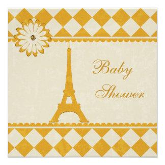 Fiesta de bienvenida al bebé amarilla de Argyle de Invitación 13,3 Cm X 13,3cm