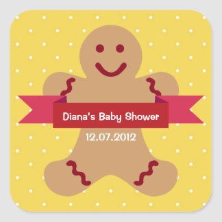 Fiesta de bienvenida al bebé amarilla de la cinta pegatinas cuadradases