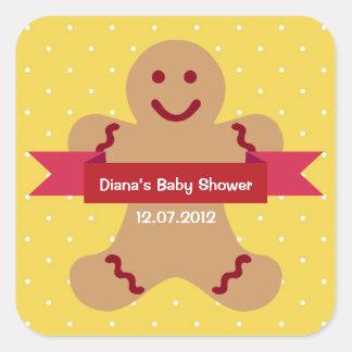 Fiesta de bienvenida al bebé amarilla de la cinta pegatina cuadrada