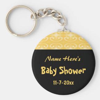 Fiesta de bienvenida al bebé amarilla y negra llavero
