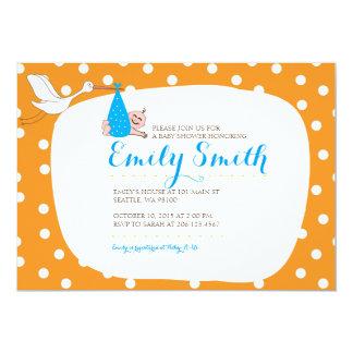 Fiesta de bienvenida al bebé anaranjada del lunar invitación 12,7 x 17,8 cm
