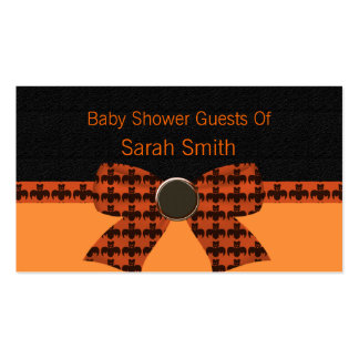 Fiesta de bienvenida al bebé anaranjada y negra de plantilla de tarjeta de negocio