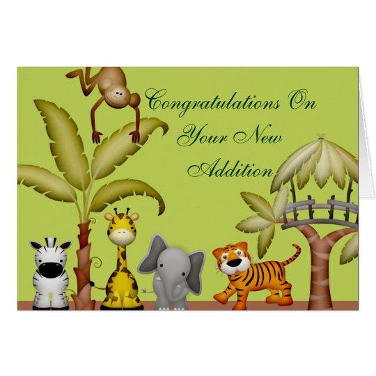 Fiesta de bienvenida al bebé animal de la tarjeta de felicitación
