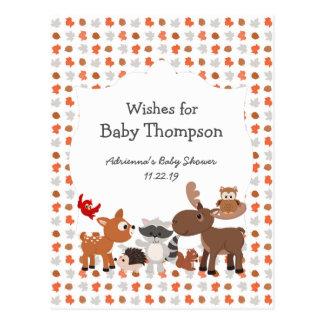 Fiesta de bienvenida al bebé animal del arbolado, postal