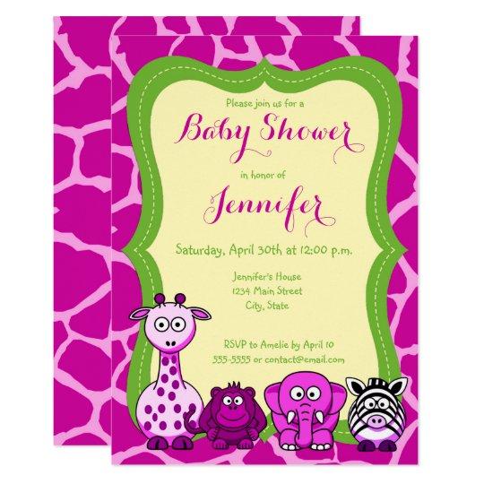 Fiesta de bienvenida al bebé animal del chica del invitación 12,7 x 17,8 cm