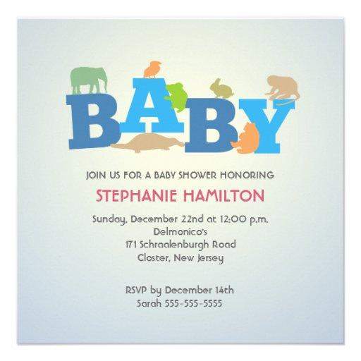 Fiesta de bienvenida al bebé animal del muchacho d comunicados personalizados
