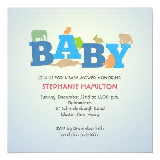 Fiesta de bienvenida al bebé animal del muchacho invitación 13,3 cm x 13,3cm