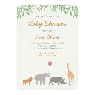 Fiesta de bienvenida al bebé animal del safari invitación 12,7 x 17,8 cm