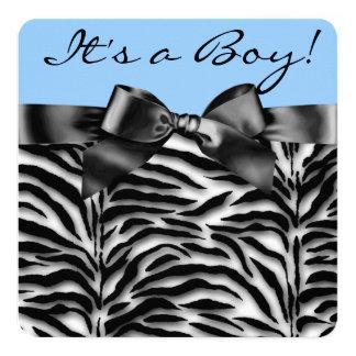 Fiesta de bienvenida al bebé azul de la cebra invitación 13,3 cm x 13,3cm