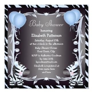 Fiesta de bienvenida al bebé azul de la cebra y invitación 13,3 cm x 13,3cm