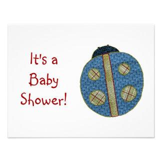 Fiesta de bienvenida al bebé azul de la mariquita  invitación