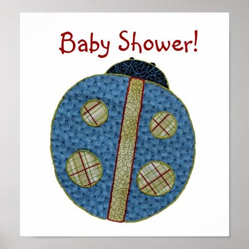 Fiesta de bienvenida al bebé azul de la mariquita  poster