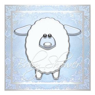 Fiesta de bienvenida al bebé azul de las ovejas de invitación 13,3 cm x 13,3cm