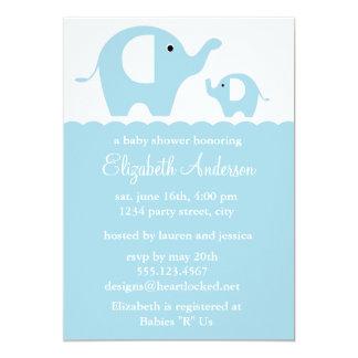 Fiesta de bienvenida al bebé azul de los elefantes invitación 12,7 x 17,8 cm