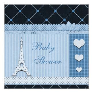 Fiesta de bienvenida al bebé azul de los lunares d invitación personalizada