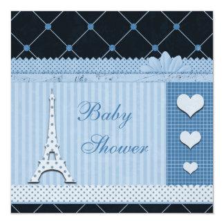 Fiesta de bienvenida al bebé azul de los lunares invitación 13,3 cm x 13,3cm