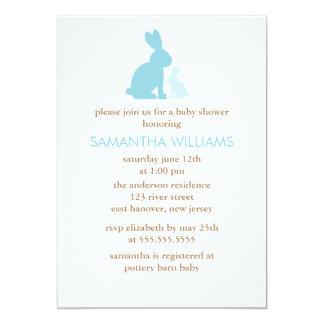 Fiesta de bienvenida al bebé azul del conejo de la invitación 12,7 x 17,8 cm