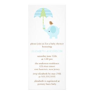 Fiesta de bienvenida al bebé azul del elefante invitacion personalizada
