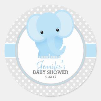 Fiesta de bienvenida al bebé (azul) del elefante pegatina redonda