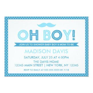 Fiesta de bienvenida al bebé azul del lunar oh invitación 12,7 x 17,8 cm