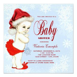 Fiesta de bienvenida al bebé azul del navidad de invitación 13,3 cm x 13,3cm