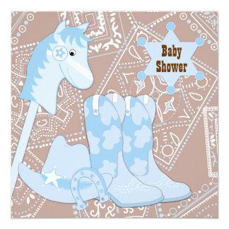 Fiesta de bienvenida al bebé azul del vaquero de invitación 13,3 cm x 13,3cm