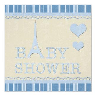 Fiesta de bienvenida al bebé azul linda de la invitación 13,3 cm x 13,3cm
