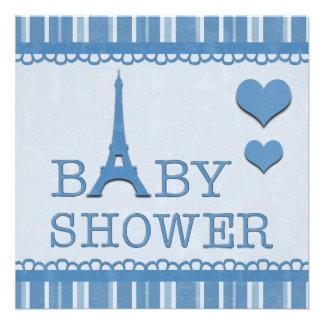 Fiesta de bienvenida al bebé azul linda de la invitación personalizada