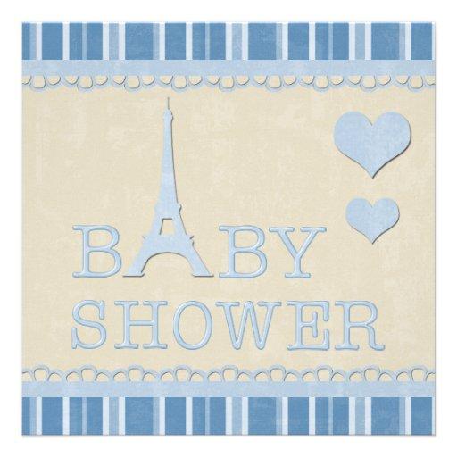 Fiesta de bienvenida al bebé azul linda de la comunicado personalizado