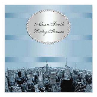 Fiesta de bienvenida al bebé azul negra grabada al invitación 13,3 cm x 13,3cm