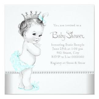 Fiesta de bienvenida al bebé azul y de plata verde invitación 13,3 cm x 13,3cm