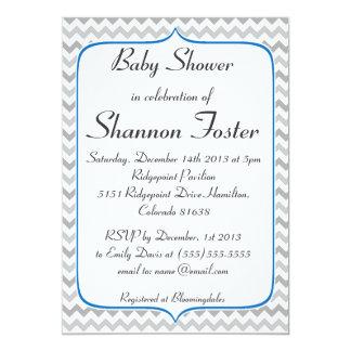 Fiesta de bienvenida al bebé azul y gris elegante invitación 12,7 x 17,8 cm