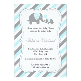 Fiesta de bienvenida al bebé azul y gris Invitaion Invitación 12,7 X 17,8 Cm
