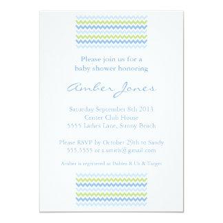 Fiesta de bienvenida al bebé azul y verde de la invitación 12,7 x 17,8 cm