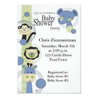 Fiesta de bienvenida al bebé azul y verde de los invitación 12,7 x 17,8 cm