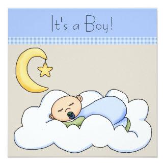 Fiesta de bienvenida al bebé beige azul de la nube invitación 13,3 cm x 13,3cm