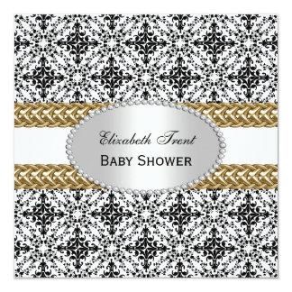 Fiesta de bienvenida al bebé blanca negra elegante invitación 13,3 cm x 13,3cm