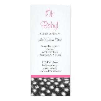 Fiesta de bienvenida al bebé blanca negra rosada invitación 10,1 x 23,5 cm