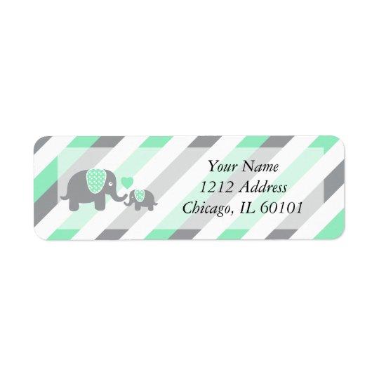 Fiesta de bienvenida al bebé blanca, verde y gris etiqueta de remitente