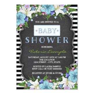 Fiesta de bienvenida al bebé blanco y negro de la invitación 11,4 x 15,8 cm